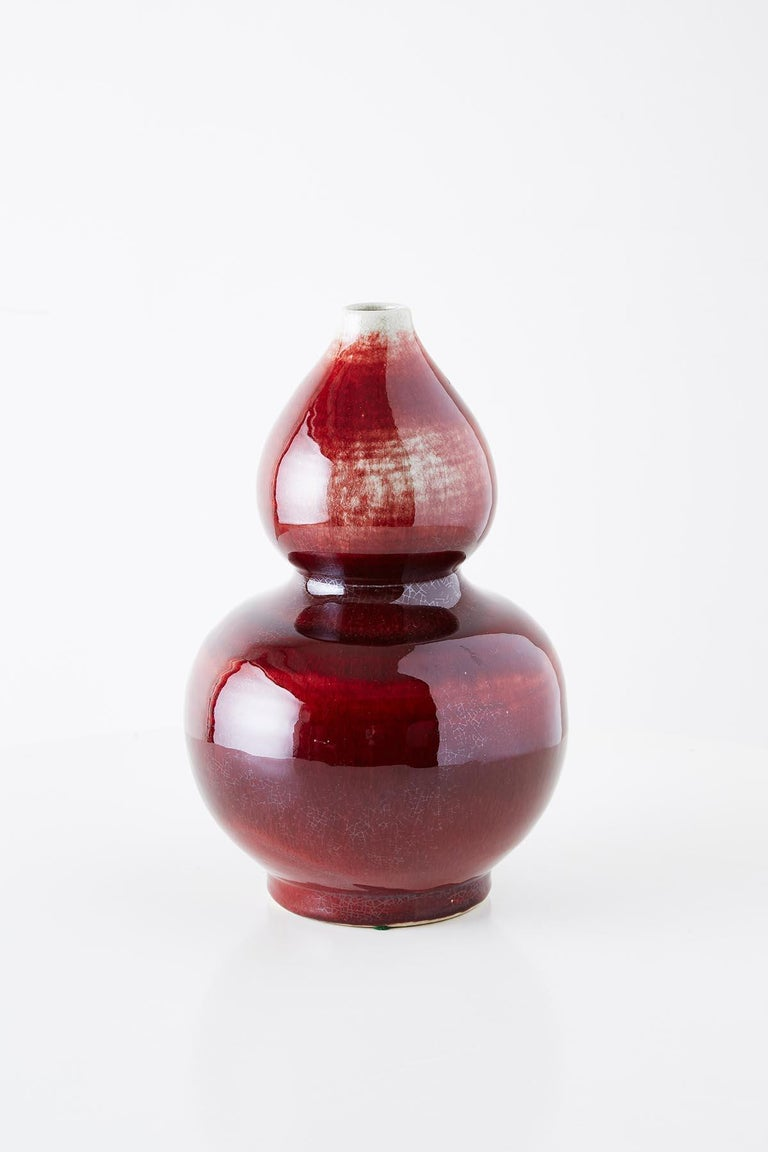 Hand-Crafted Chinese Oxblood Sang De Boeuf Langyao Double Gourd Vases For Sale