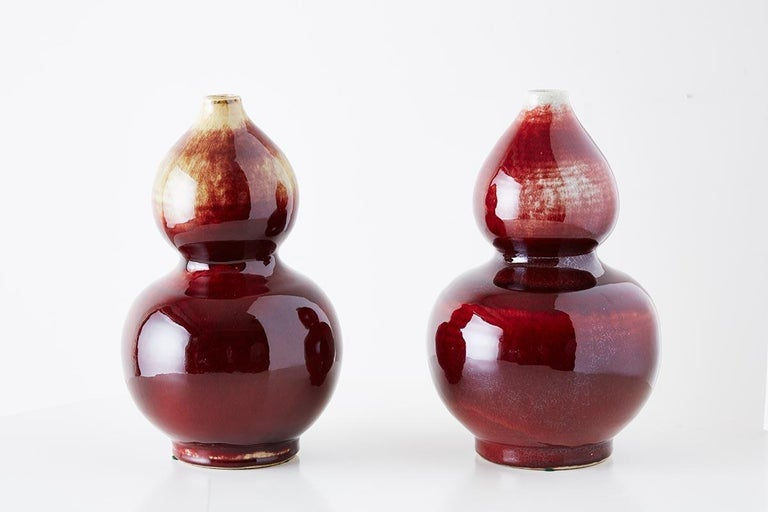 Chinese Oxblood Sang De Boeuf Langyao Double Gourd Vases In Good Condition For Sale In Oakland, CA