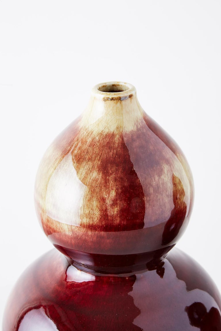 Porcelain Chinese Oxblood Sang De Boeuf Langyao Double Gourd Vases For Sale
