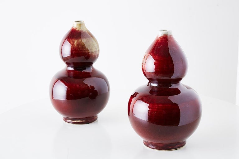Chinese Oxblood Sang De Boeuf Langyao Double Gourd Vases For Sale 2