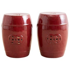 Chinese Oxblood Sang De Boeuf Style Garden Stools