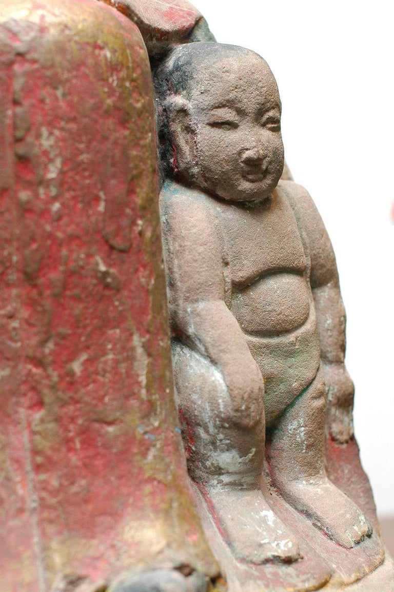 18th Century and Earlier A Chinese Painted and Carved Sandstone Figure of a Guanyin Southern Song Dynasty For Sale