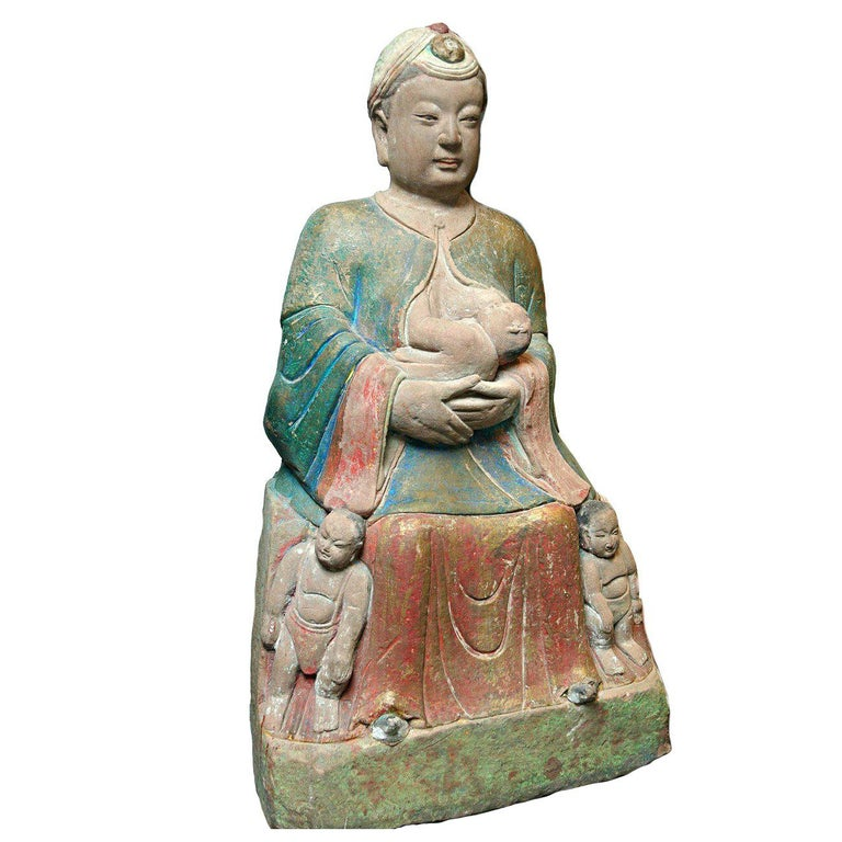 A Chinese Painted and Carved Sandstone Figure of a Guanyin Southern Song Dynasty For Sale