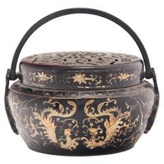 Chinese Painted Brass Phoenix Brazier, c. 1900