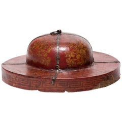 Chinese Painted Red Lacquer Hat Box Lid, circa 1850