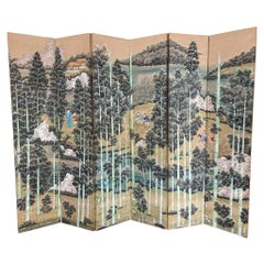 Chinese Painted Screen with Bamboo Forest and Figures, Large Scale
