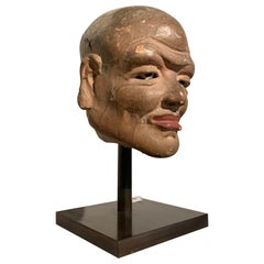 Chinese Painted Stucco Head of a Luohan, Song Dynasty, 11th Century, China