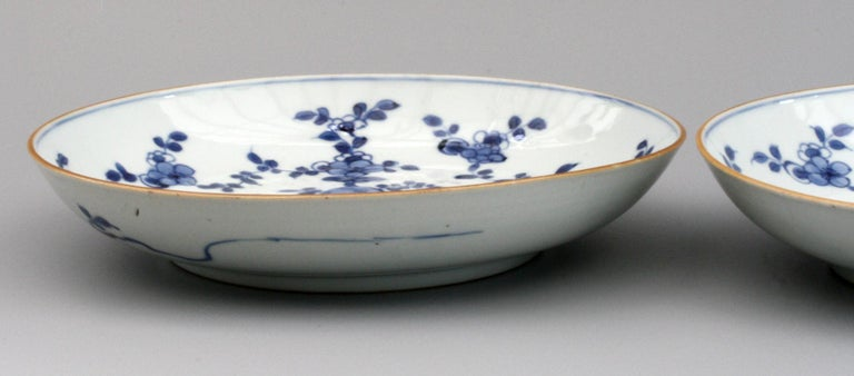 Chinese Pair of Kangxi Blue and White Painted Floral Porcelain Plates For Sale 4