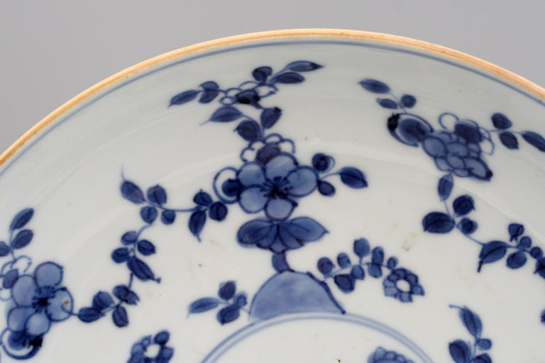 Hand-Painted Chinese Pair of Kangxi Blue and White Painted Floral Porcelain Plates For Sale