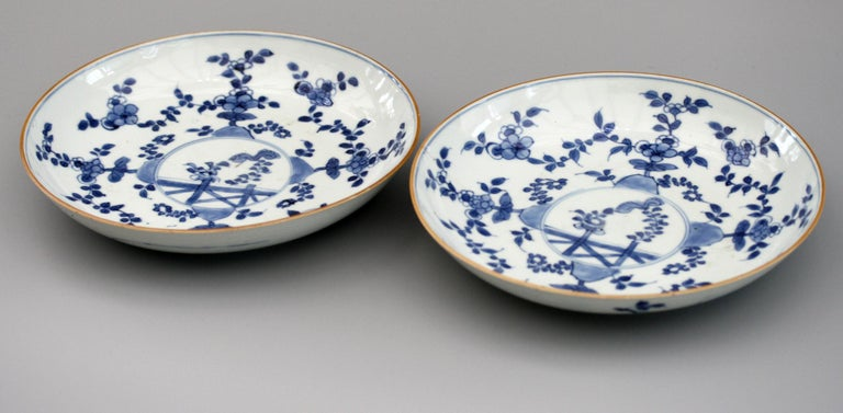 Chinese Pair of Kangxi Blue and White Painted Floral Porcelain Plates For Sale 3