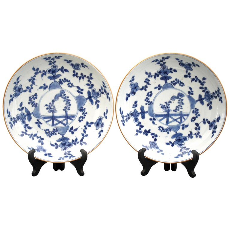 Chinese Pair of Kangxi Blue and White Painted Floral Porcelain Plates For Sale