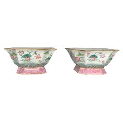 Chinese Pair of Hand Painted Porcelain Planters