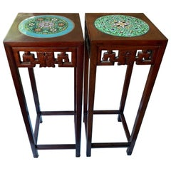 Chinese Pair of Tall Plant Stands