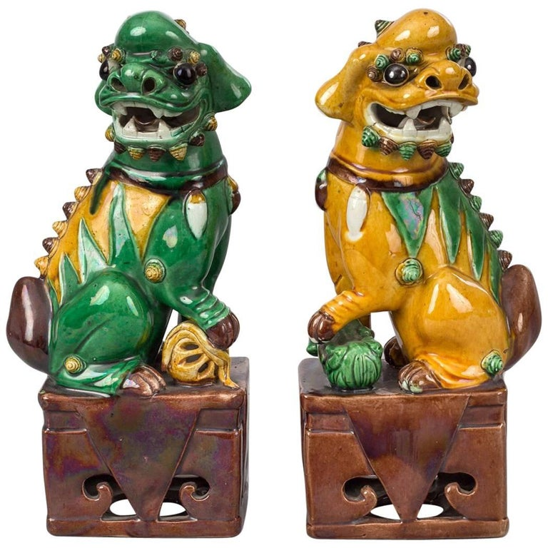 Chinese Pair Of Yellow And Green Foo Dogs At 1stdibs