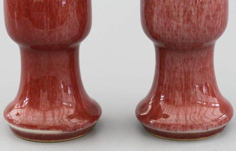 Chinese Pair of Qianlong Mark Sang De Boeuf Porcelain Gu Vases, 20th Century For Sale 5