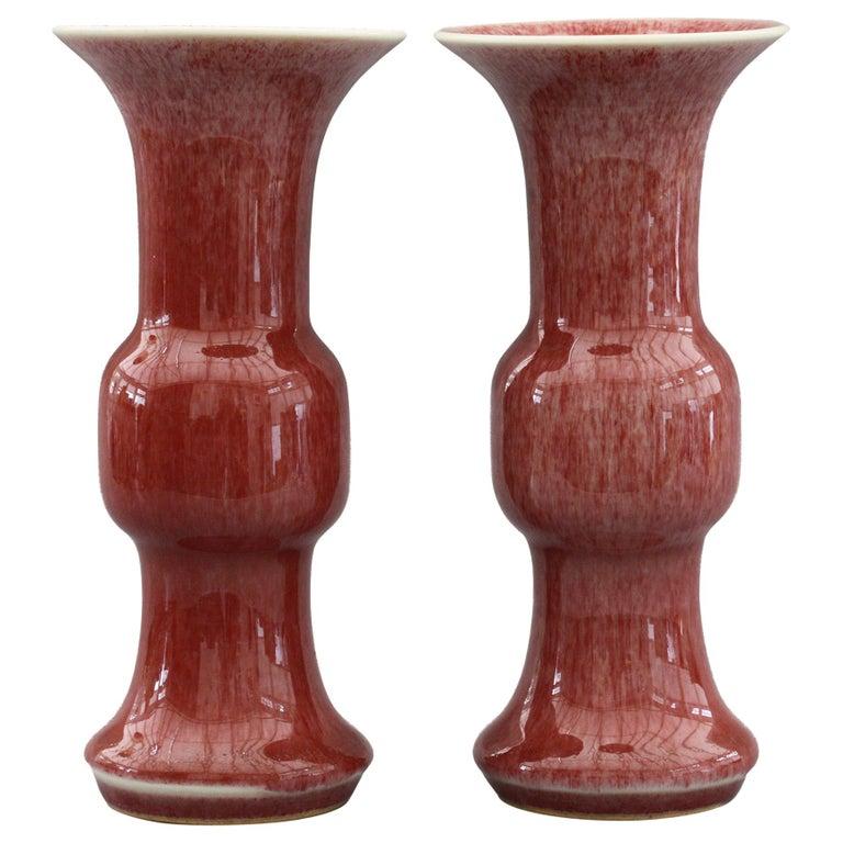 Chinese Pair of Qianlong Mark Sang De Boeuf Porcelain Gu Vases, 20th Century For Sale