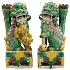 Chinese Pair of Sancai Glazed Porcelain Dogs of Fu Incense Holders