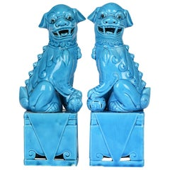 Chinese Pair Turquoise Glazed Porcelain Mounted Foo Dogs