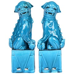 Chinese Pair of Turquoise Glazed Porcelain Mounted Food Dogs