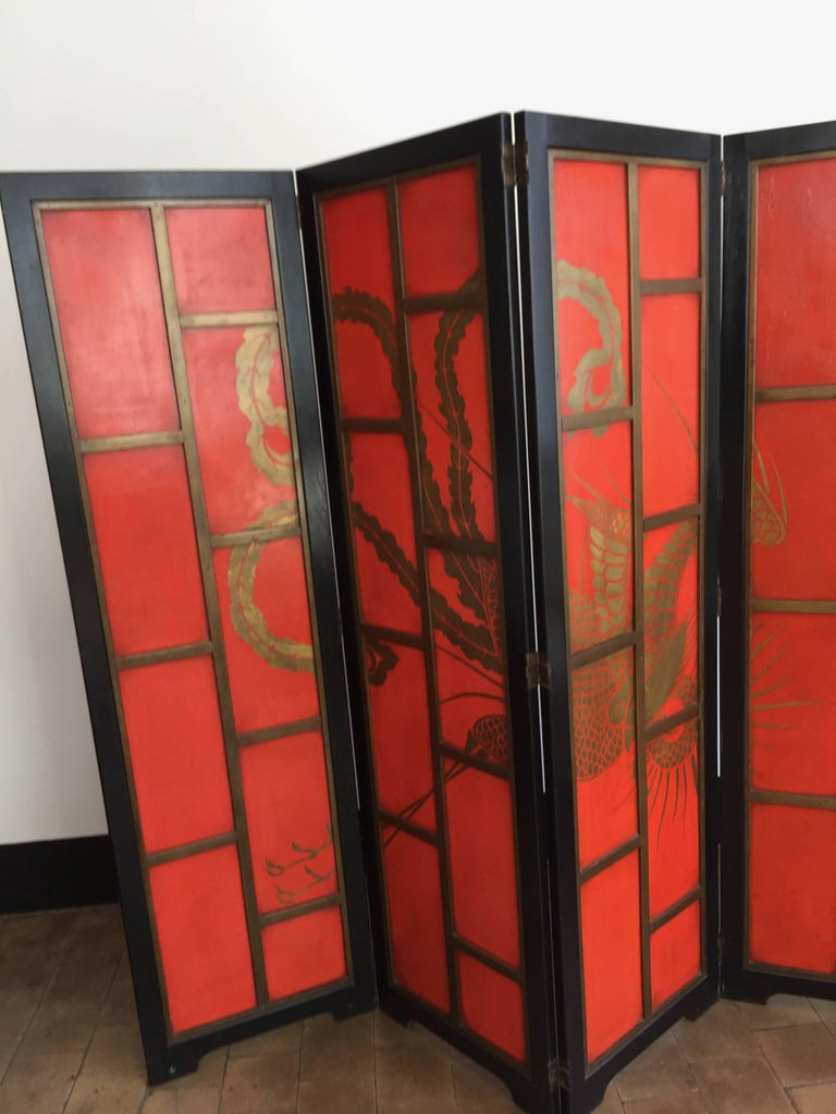 chinoiserie screen art deco style in colour china red and black lacquer for sale at 1stdibs. Black Bedroom Furniture Sets. Home Design Ideas