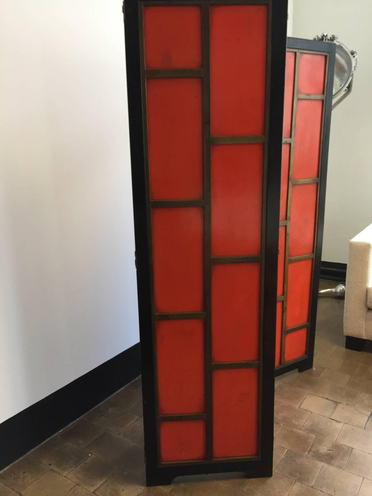 Chinese Chinoiserie Screen Art Deco Style in Colour China Red and Black Lacquer  For Sale