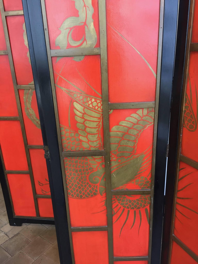 Chinoiserie Screen Art Deco Style in Colour China Red and Black Lacquer  In Good Condition For Sale In Hamburg, DE