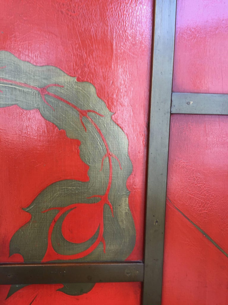 Wood Chinoiserie Screen Art Deco Style in Colour China Red and Black Lacquer  For Sale