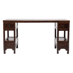 Chinese Partner's Desk with Puddingstone Top, c. 1850
