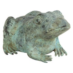 Chinese Patinated Metal Figure of a Frog