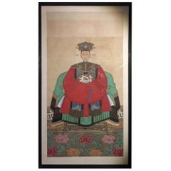 Chinese Patriarch Ancestral Painting on Linen or Silk