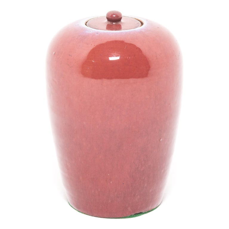 Glazed Chinese Peach Blossom Ginger Jar For Sale