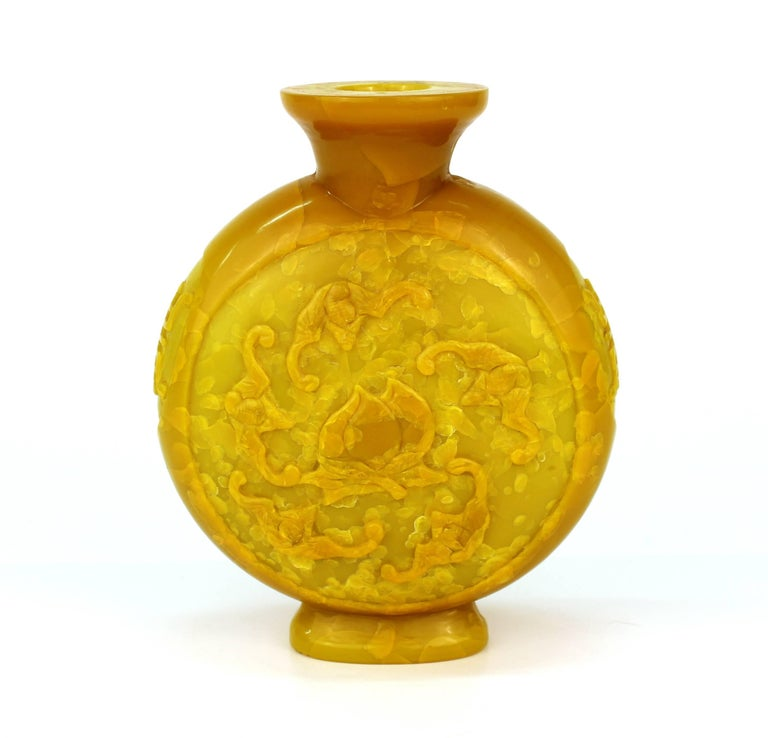 Chinese Peking Imperial Yellow Vase with High Relief Motif of Bats and Peaches In Good Condition For Sale In New York, NY