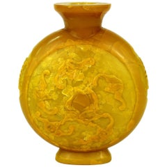 Chinese Yellow Vase with High Relief Motif of Bats and Peaches