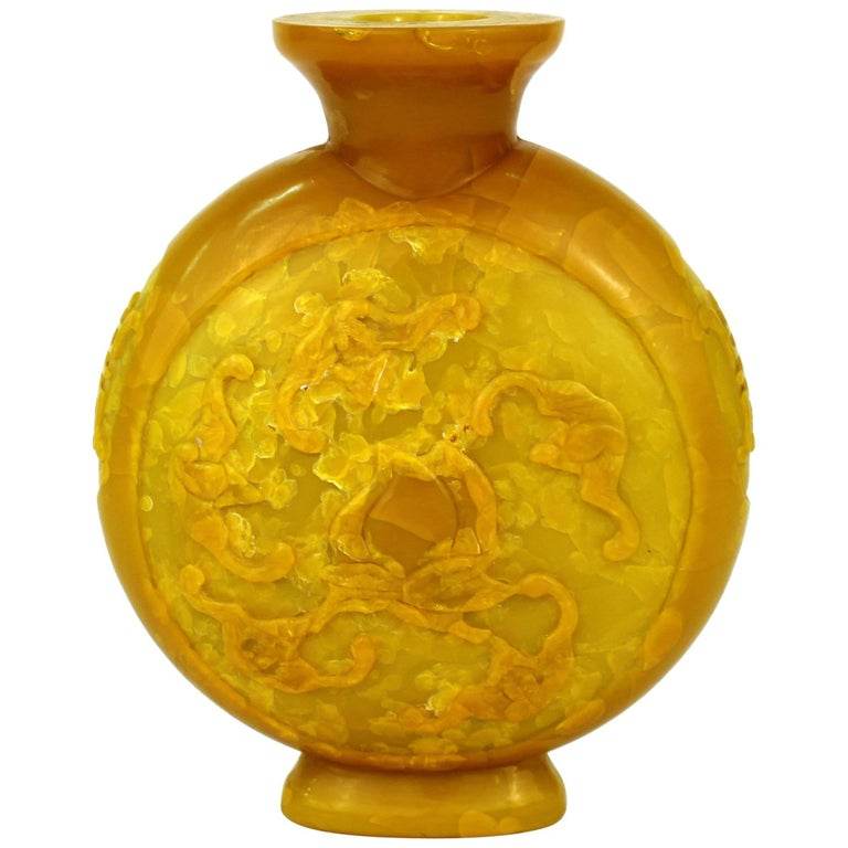 Chinese Peking Imperial Yellow Vase with High Relief Motif of Bats and Peaches For Sale