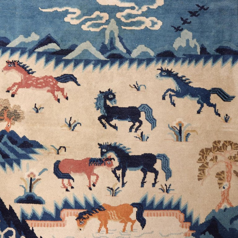 Chinese Peking Pictorial Rug Blue And Beige Early 20th Century