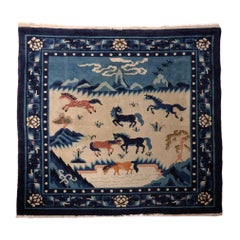 Chinese Peking Pictorial Rug, Blue and Beige, Early 20th century.