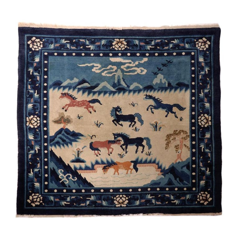 Chinese Peking Pictorial Rug, Blue And Beige, Early 20th