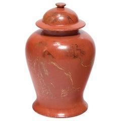 Chinese Persimmon Crane Baluster Jar, circa 1920s