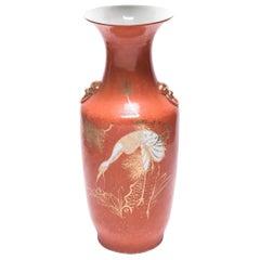 Chinese Persimmon Crane Phoenix Tail Vase