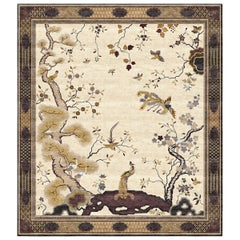 Chinese Phoenix Bronze Hand-Knotted Silk 3.0 x 4.0m Rug