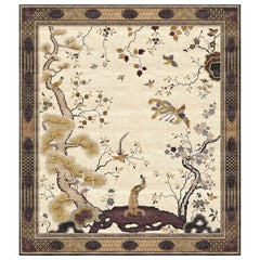 Chinese Pheonix Bronze - Beige Traditional Hand Knotted Silk Rug
