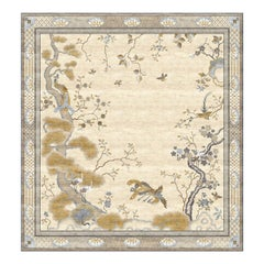 Chinese Pheonix Celeste - Beige Patterned Hand Knotted Silk Rug