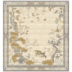 Chinese Phoenix Celeste Hand-Knotted Silk 3.0 x 4.0m Rug
