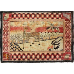 Chinese Pictorial Rug with Deer and Crane Figures
