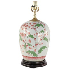 Chinese Pink Cherry Blossom Tree Motif Table Lamp Mounted on a Wooden Base