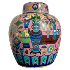 """Chinese Pink Cloisonne """"Hundred Antiques"""" Ginger Jar, Early 20th Century, China"""