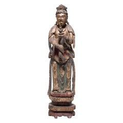 Chinese Polychrome Guanyin Bodhisattva Figure