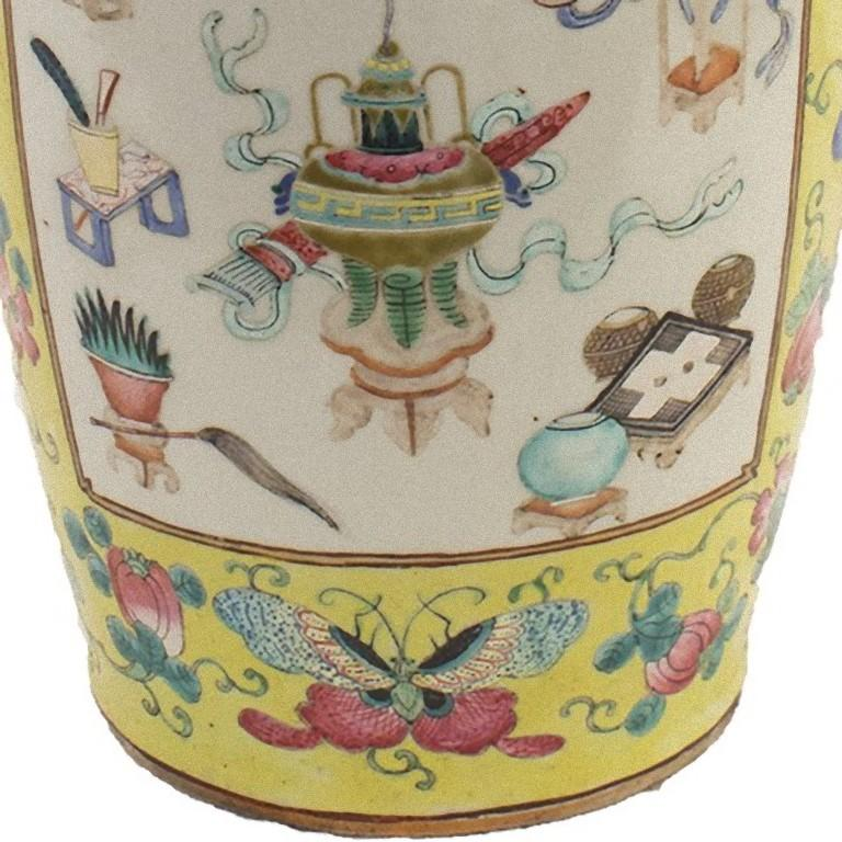 Porcelain Chinese Polychrome Vase, China, Early 20th Century For Sale