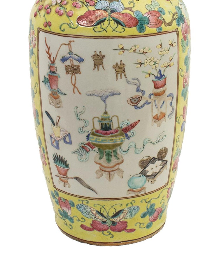 Porcelain Chinese Polychrome Vase, Early 20th Century For Sale