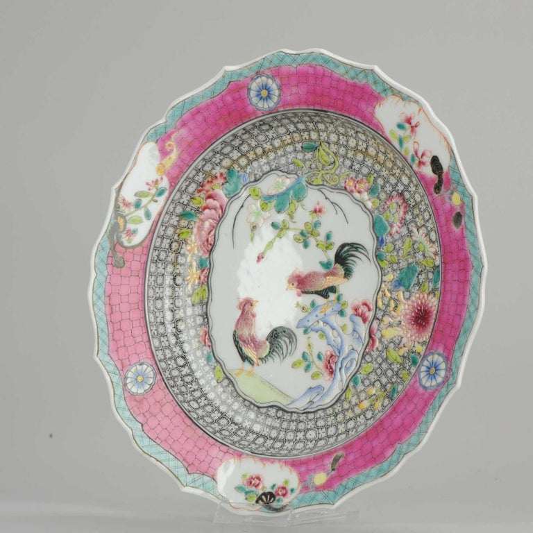 A very nicely decorated chicken dinner plate. Very rare type of decoration.  We are not sure about the age, could be late 20th century, could be 21st century. Fully hand painted and handmade.   Condition Overall condition; Perfect. Size: 216 x